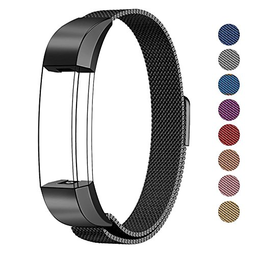 (SWEES Metal Bands Compatible Fitbit Alta & Fitbit Alta HR, Milanese Loop Stainless Steel Metal Replacement Accessories Small Large for Women Men, Silver, Black, Rose Gold, Colorful, Champagne)