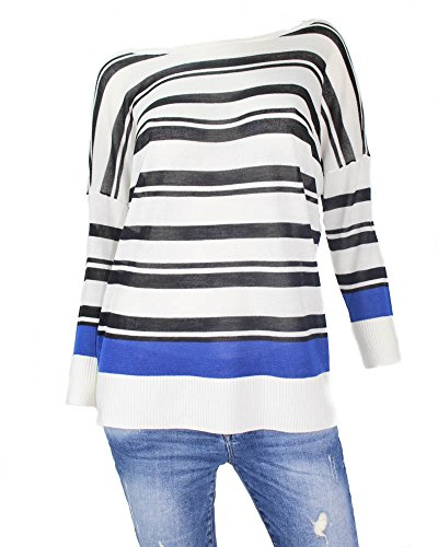 ONLY Pull oversize onlCHELSEA 7/8 pour femme, (S), Cloud Dancer avec Black / Surf the Web