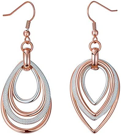 Kemstone Two Tone Rose Gold and Silver Multilayer Dangling Earring for Woman, 2.4 Inches