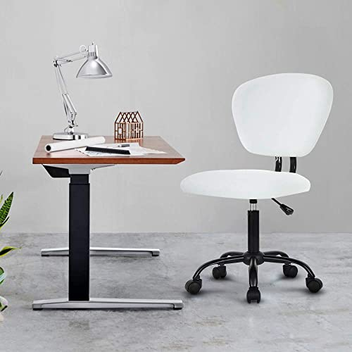 Computer Office Task Chair PU Leather Chair Rolling Swivel Stool Home Desk Chair Adjustable Height Armless Rolling Chairs Mid Back Task Chair No Arm