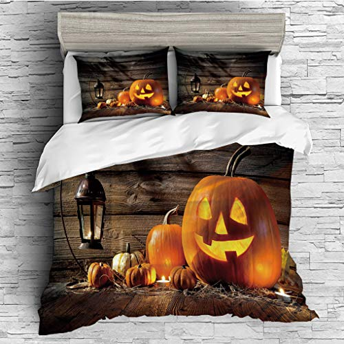 3 Pieces (1 Duvet Cover 2 Pillow Shams)/All Seasons/Home Comforter Bedding Sets Duvet Cover Sets for Adult Kids/Singe/Halloween,Grinning Expression Pumpkin Country House Squash Bunch on Wooden Planks ()