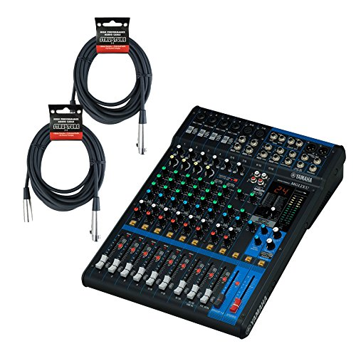 Mixers Powered Yamaha (Yamaha MG12XU, 12 Input, 4 Bus Mixer (w/Compression, Effects, USB) & (2) 20 ft. XLR Cables)