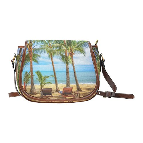 your-fantasia Tropical Beach with Coconut Palm Trees Small Cross Body Saddle Bag Womens Purse Handbag Small (Palm Tree Purse)