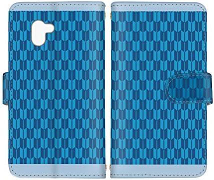 スマ通 AQUOS R3 SH-04L / SHV44 / 808SH 国内生産 カード スマホケース 手帳型 SHARP シャープ アクオス アールスリー 【B.ブルー】 矢絣 和風 vc-669