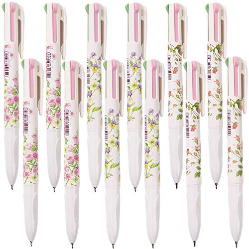 Shulaner Multi Colored Ballpoint Pens 0.5mm 4 Color Ink in One Ballpoint Pen Pure and Fresh Flower Pens Pack of 12