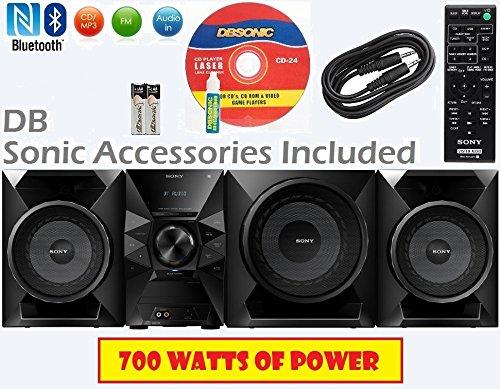 Sony 700 Watt NFC Bluetooth Sound System w/ MP3 CD Player, FM Radio, Play & Sleep Timer, EQ & Bass Boost, Subwoofer, 2-Way Bass Reflex Speakers, AUX & USB Input, Wireless Remote + DB Sonic Accessories