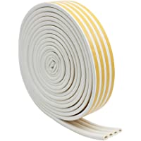 KingYH 20m Door Weather Strip D-Type Door Window Draught Excluder Strip Self-Adhesive Foam Seal Stripping for Home…