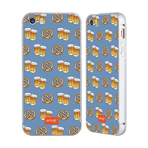 Officiel Emoji Bière Et Bretzel Oktoberfest Argent Étui Coque Aluminium Bumper Slider pour Apple iPhone 5 / 5s / SE