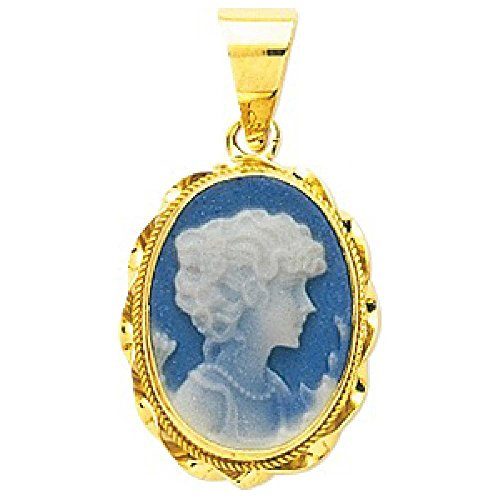 So Chic Jewels - Ladies 18k Yellow Gold Porcelain Twisted Blue Frame Oval Cameo Pendant
