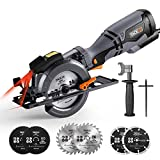 "TACKLIFE Circular Saw,5.8A Compact Saw with 6 Blades(4-3/4"" & 4-1/2""),Laser Guide,Metal Handle,Max Cutting Depth 1-11/16'' (90°),1-3/8'' (45°) Ideal for Wood,Soft Metal,Tile and Plastic Cuts-TCS115A"