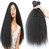 Cheap 3 bundles brazilian yaki straight hair extensions human hair weave kinky straight virgin hair unprocessed virgin brazilian hair weave bundles (12 14 16)