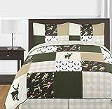 Sweet Jojo Designs Green and Beige Deer Buffalo Plaid Check Woodland Camo Boy Full/Queen Teen Childrens Bedding Comforter Set-3 Pieces-Rustic Camouflage