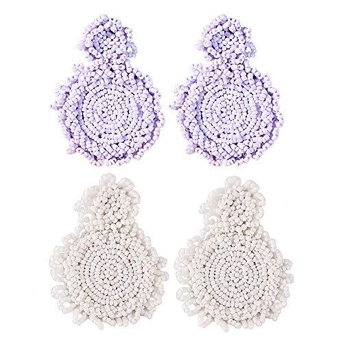 Statement Drop Earrings - Bohemian Beaded Round Dangle Earrings Gift for Women (A purple + white)