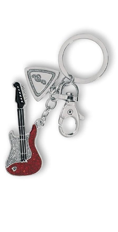 Llavero metal diseño Guitarra eléctrica con glitter rojo o ...
