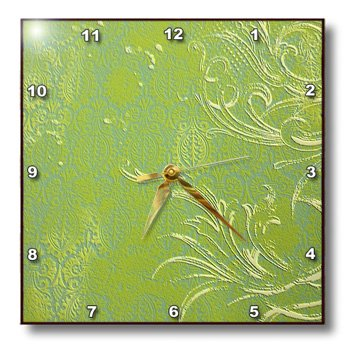 3dRose dpp_43758_1 Lime Green with Ivory Scrolls-Wall Clock,