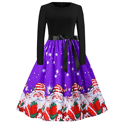 Franterd Christmas Women Dress Vintage Christmas Santa Claus Print Party Retro A-Line Swing Dress S-XXL (L, Purple) ()