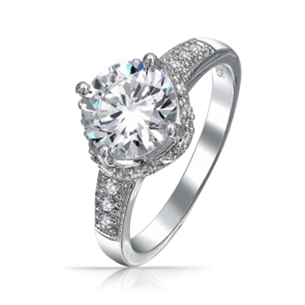 .925 Silver 3ct Round Crown CZ Engagement Ring