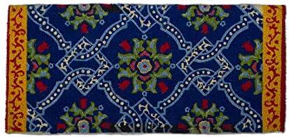 Tag Ravenna Estate Coir Doormat Indoor Outdoor Welcome Mat 1 6 x 3 3 Blue