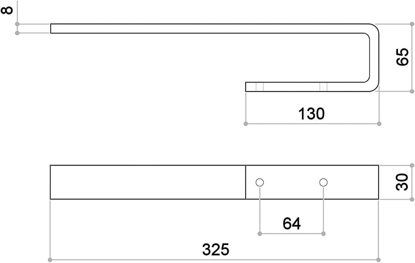 325 mm//Breite 30 mm//Materialst/ärke 65 mm//H/öhe 8 mm//Tuchhalter Handtuchreling Handtuchstange von SO-TECH/® Handtuchhalter PELI f/ür Schrankmontage//Aluminium massiv Chrom poliert//L/änge