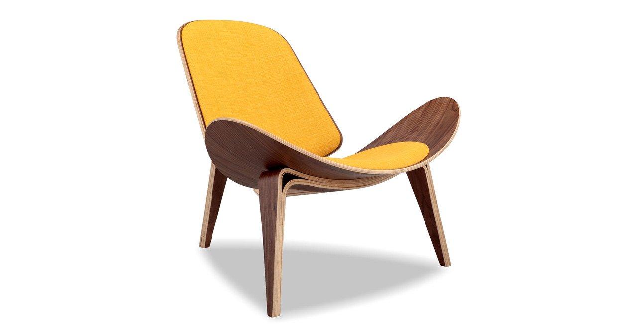 Kardiel Tripod Plywood Modern Lounge Chair, Citrine Twill Walnut