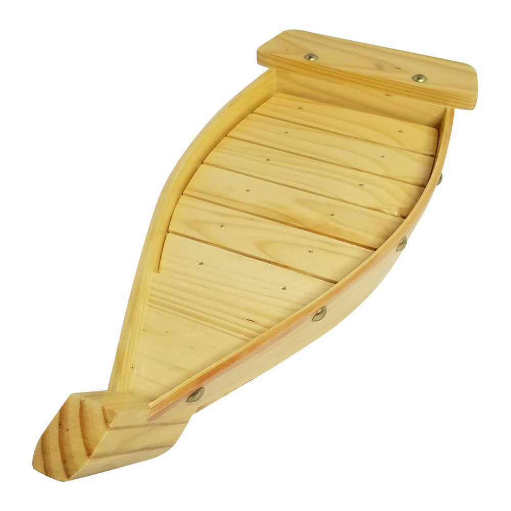 100% Natural Bamboo Wooden Sushi Tray Serving Boat Plate for Home or Restaurant - Japanese Sushi Boat (16.5'' x 6.5'' x 2.5'')