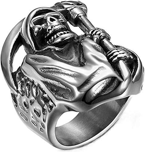 NA Mnner Hip Hop Gothic Tod Sichel Schdel Edelstahl Ring
