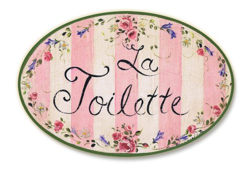 La Toilette Wall Plaque (Stupell Home Décor La Toilette Floral With Pink Stripe Oval Bathroom Wall Plaque, 10 x 0.5 x 15, Proudly Made in USA)