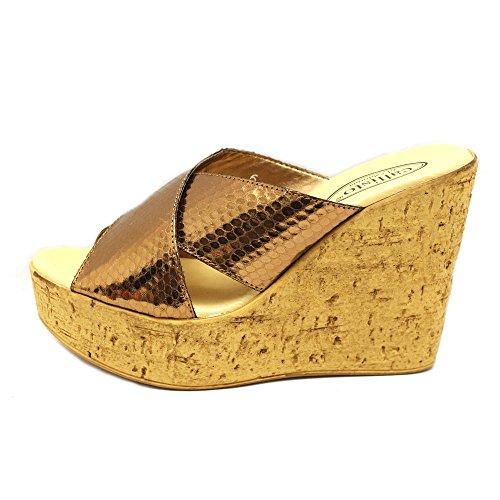 Callisto Femmes Zahara Ouvert Toe Sandales Plate-forme Décontractée Bronze