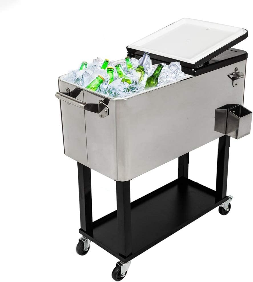 MTFY 80 Quart Patio Cooler Rolling Cooler Ice Chest with Shelf, Stainless Steel Ice Chest Portable Patio Party Bar Drink Cooling Cart Beverage Cooler Cart with Wheels and Bottle Opener