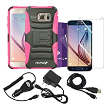 Fosmon® Bundle Pack for Samsung Galaxy S6: (STURDY) Heavy Duty Hybrid Shell Case, Micro-USB Charger Combo Pack (Car Charger/Travel Charger/USB Cable), and 3-Pack Screen Protector HD CLEAR [Japan 3H Hard Coating Film] for Galaxy S6 (Pink)