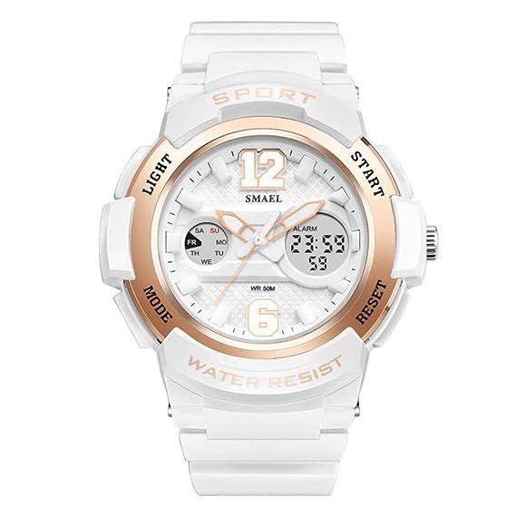 Rocita Reloj Multifuncionales se Divierte el Reloj SMAEL Reloj de Las Mujeres del Reloj de Doble Pantalla: Amazon.es: Relojes