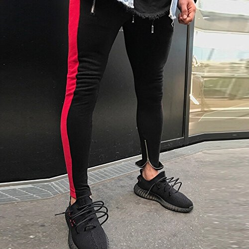Pitauce Sports Pants for Men Casual Pants for Men Mens Hip Hop Premium Slim Fit Track Pants Casual Sweatpants Pockets Red by Pitauce (Image #2)