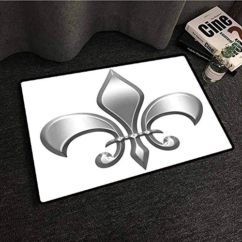 (Non-Slip Door mat Fleur De Lis Lily Flower Symbol Nobility of Knights in Medieval Time European Iris Icon Super Absorbent mud W31 xL47 White Silver)