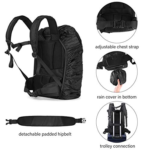 32b5475c00bd BAGSMART Camera Backpack Professional DSLR SLR Camera Bag Fit up to  200-400mm Lens, 15.6inch Laptop, DJI Mavic Pro with Waterproof Rain Cover,  Tripod ...