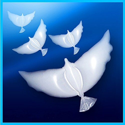 Dove BalloonsPack of 10 are 100% Biodegradable Perfect for Ceremonies Weddings Birthday and More. Huge White Balloons are Eco-Friendly and Can Float in Sky for More Than 20 Hours with Helium. -