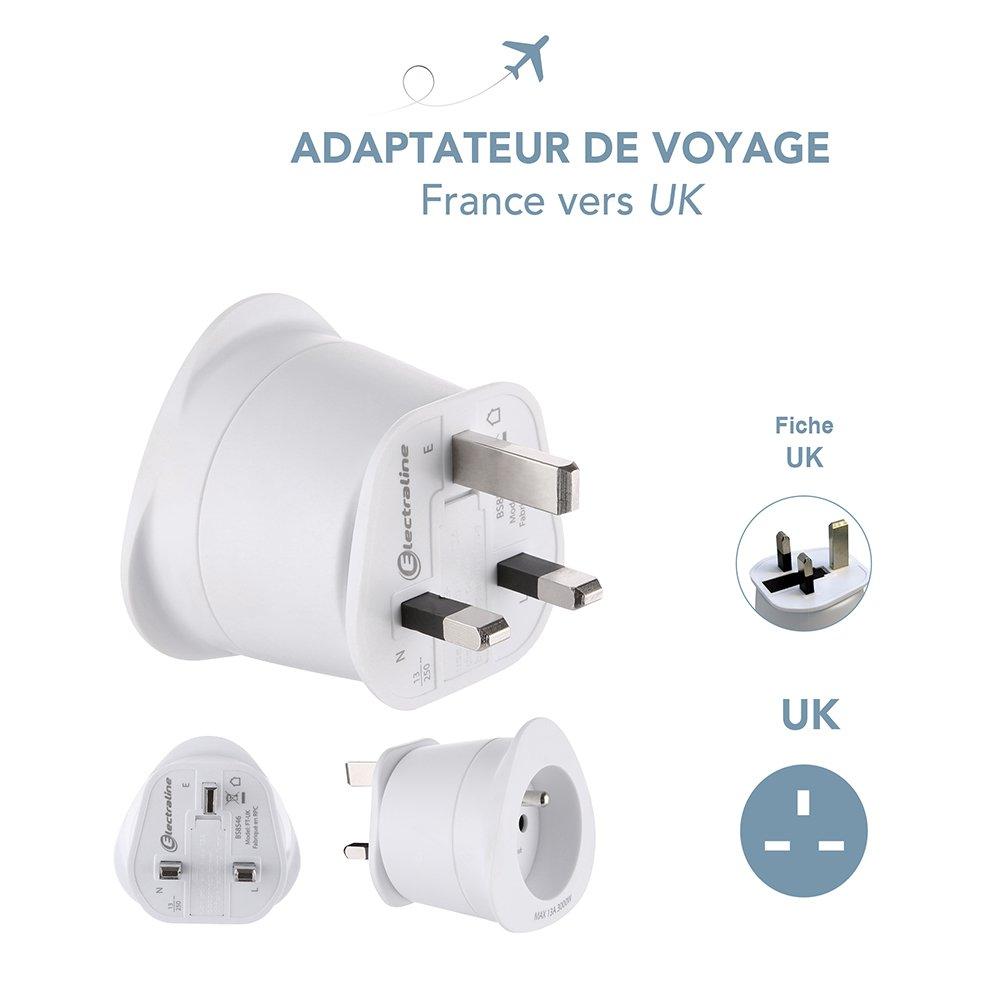 Electraline 70051 Adaptateur de voyage France//Europe vers Italie 2 Broches Europe vers 3 Broches Italie White