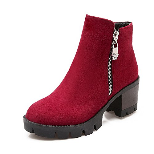 AllhqFashion Womens Kitten Heels Frosted Solid Zipper Round Closed Toe Boots, Red, 38