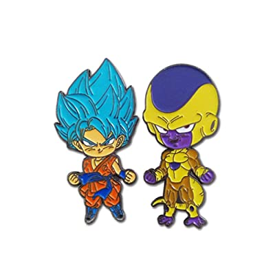 Great Eastern Entertainment Dragon Ball Super SSGSS Blue Goku & Golden Frieza Metal Pins Set of 2: Toys & Games