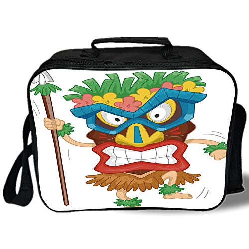 Insulated Lunch Bag,Tiki Bar Decor,Native Man Wearing Mask Illustration Cartoon Tribal Costume Primitive Ritual Decorative,Multicolor,for Work/School/Picnic, Grey ()