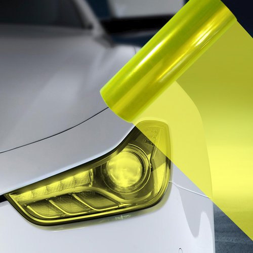 2X A4 Fluro Yellow Car Headlight Fog Light Tint Film