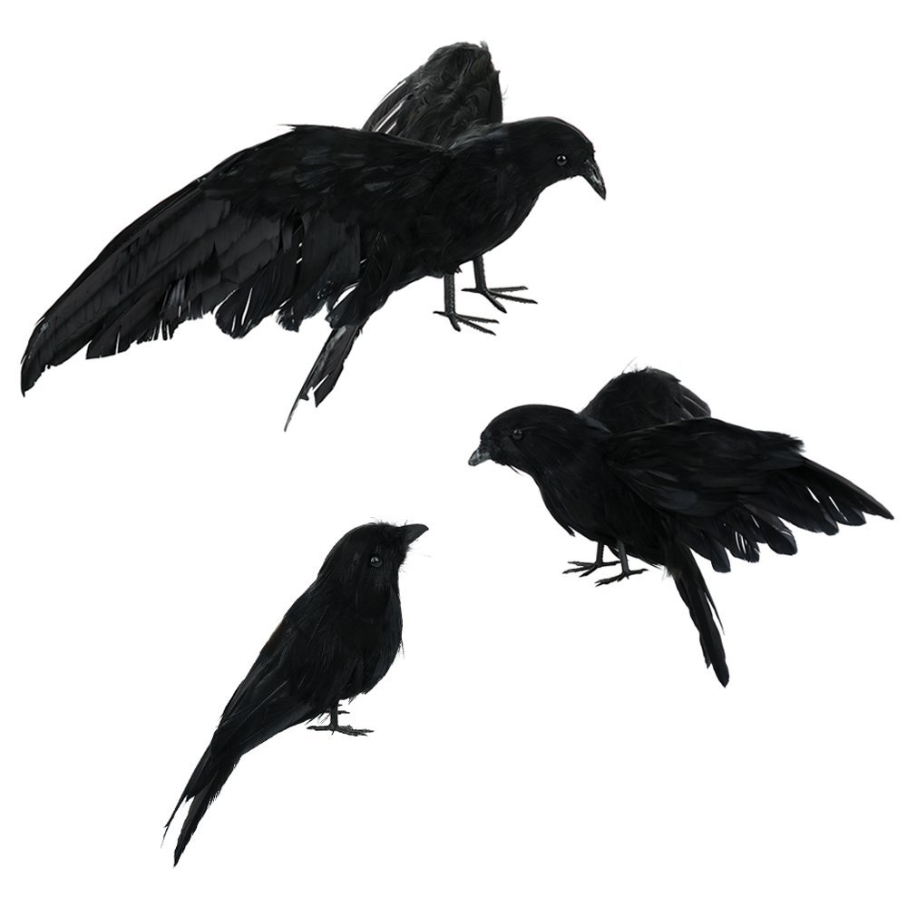 ASSR Halloween Realistic Handmade Crow Prop, 3 Pack Black Feathered Fly and Stand Crows for Outdoors and Indoors Display Decors