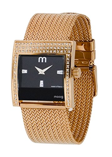 Moog Paris Champs Elysées Women's Watch with Black Dial, Rose Gold Stainless Steel Strap & Swarovski Elements - M44794-003
