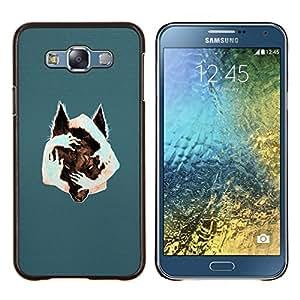 Arte surrealista Lobo- Metal de aluminio y de plástico duro Caja del teléfono - Negro - Samsung Galaxy E7 / SM-E700