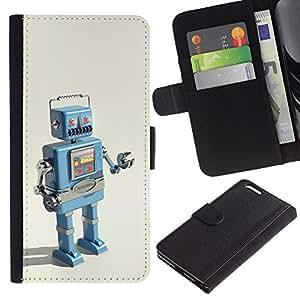 Funda tipo libro de piel BearCase/soporte para Smartphone protección ranuras para tarjetas /// Apple iphone 6 PLUS 5,5 /// Robot Ai máquina de dibujo de tecnología It