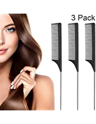 3 Packs Rat Tail Comb Steel Pin Rat Tail Carbon Fiber Heat Resistant Teasing Combs with Stainless Steel Pintail (Black)