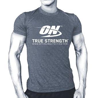 6d8e6908 Optimum Nutrition ON T-Shirt/Tshirt (Large) Grey: Amazon.co.uk: Clothing