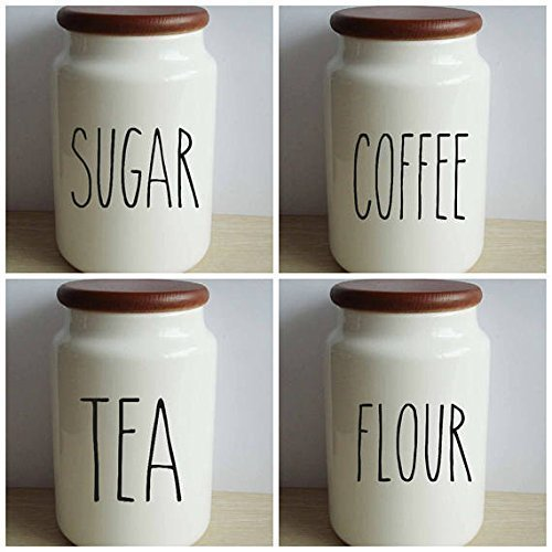 Rae Dunn Inspired Vinyl Decal Sticker Label Set For Kitchen (Pottery Canister Set)