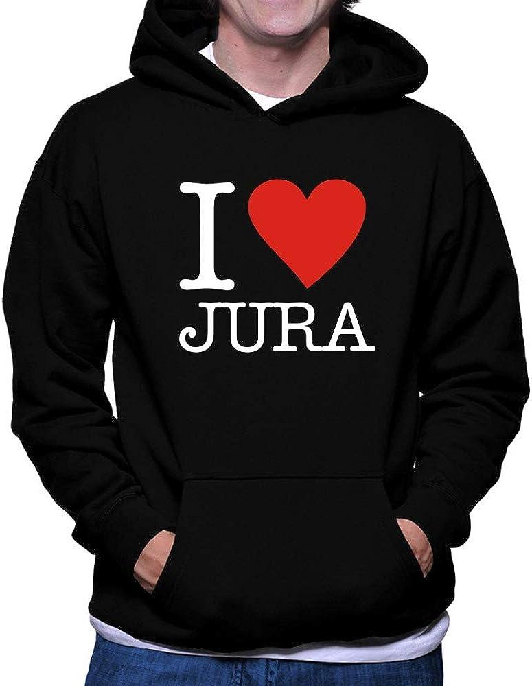 Teeburon I Love Jura Typewriter Style Hoodie