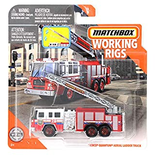 Matchbox Working Rigs MBX FD Pierce Quantum Aerial Ladder Truck, Red & White Fire Truck