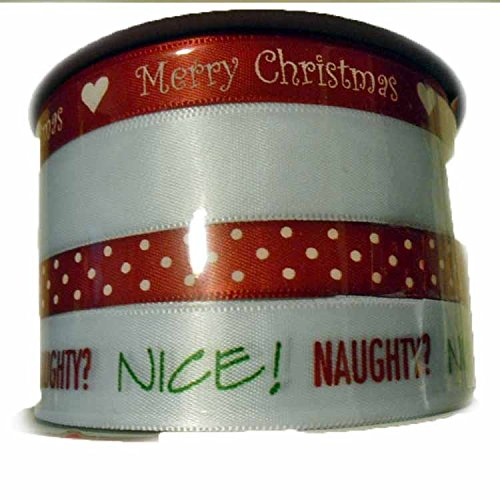 Holiday Christmas Spritz Fabric Ribbon 4 End X 40 Feet Red &